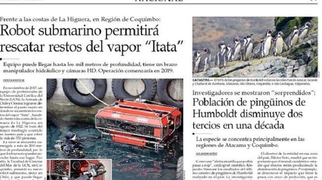 Mercurio: «Robot submarino permitirá rescatar restos del vapor Itata»